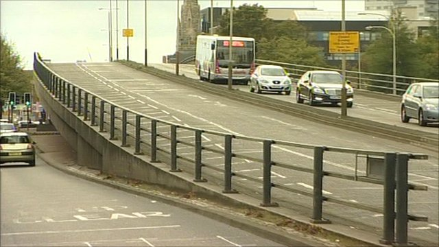 Traffic on the Belgrave flyover in Leicester