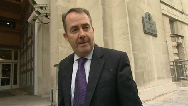 Defence Secretary Liam Fox outside MOD