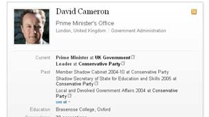 David Cameron's LinkedIn profile