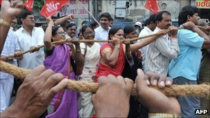 A recent protest in Hyderabad against high inflation