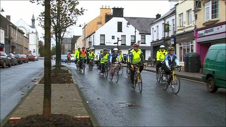 Cyclists in safety vests