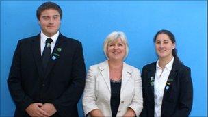 Head boy Graham Colley, head teacher Caryl Lewis and head girl Gemma Colley