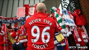 Liverpool fan pays his respects to those who died in the Hillsborough disaster
