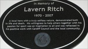 The plaque in memory of Lavern Ritch
