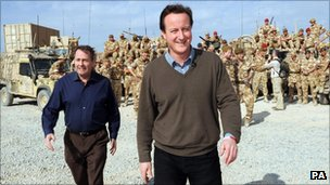 Cameron and Fox visiting Afghanistan in 2009