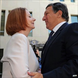 Julia Gillard and Jose Manuel Barroso