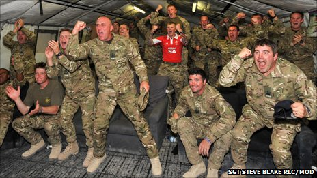 Soldiers from the Queen's Dragoon Guards - known as the Welsh cavalry - support Wales in Camp Bastion in Afghanistan