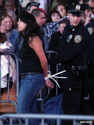 Police arrest woman in Times Square 15 October 2011