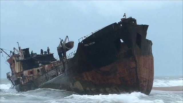 Wrecked ship off Nigeria's coastline