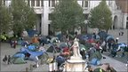 Tents outside St Paul's on Sunday, 16 October
