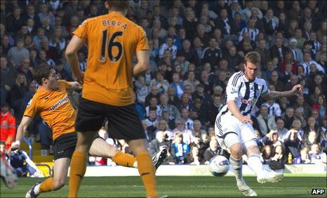 Chris Brunt (right) scores for West Brom against Wolves