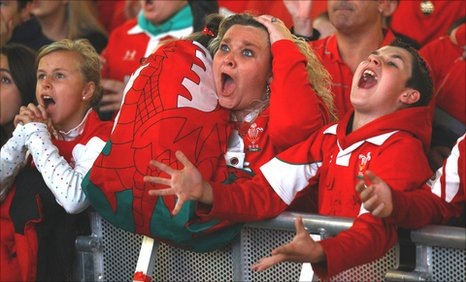 Wales fans react with dismay as their team go out of the World Cup