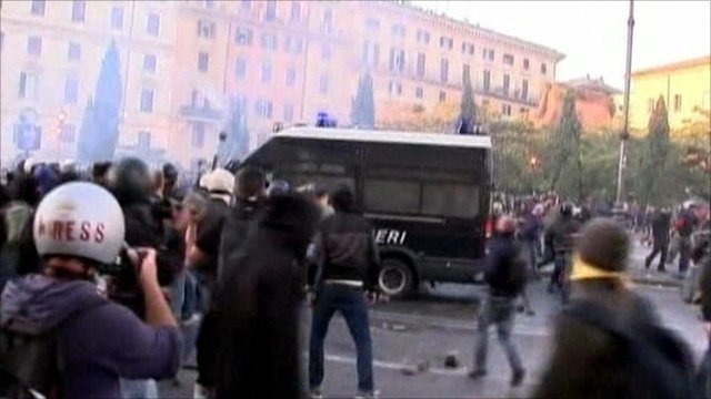 Protesters in Rome