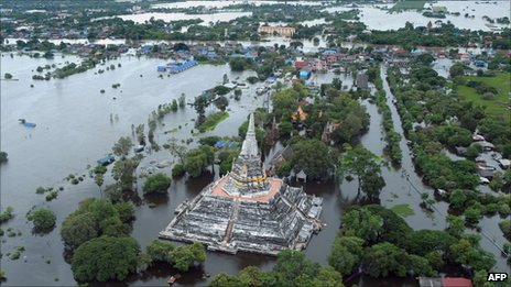 Aerial photo of flooded ancient capital city of Ayutthaya, north of Bangkok, on 16 October 2011