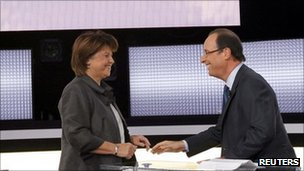 Martine Aubry and Francois Hollande debate live on French TV, 12 October