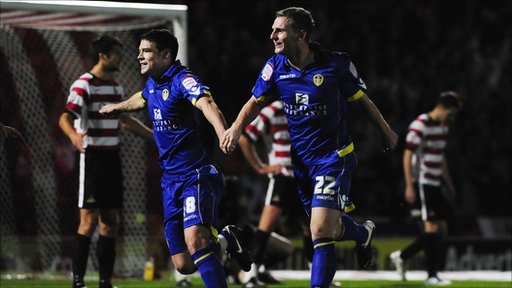 Darren O'Dea and Tom Lees celebrate a goal as Leeds beat Doncaster