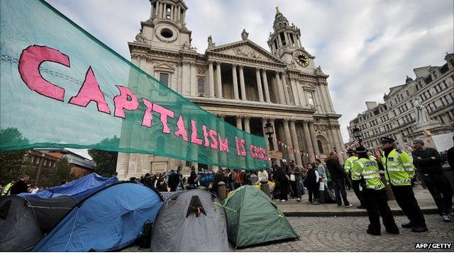Protest outside St Paul's