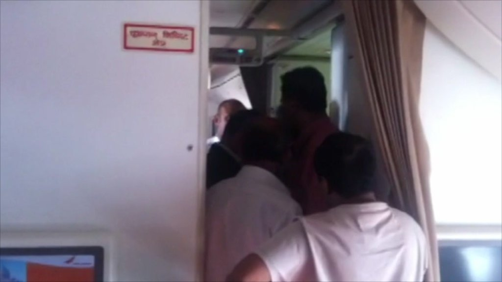 Passengers onboard the stranded Air India flight
