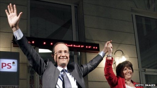Francois Hollande and his defeated opponent Martine Aubry