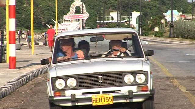 Lada being driven in Cuba