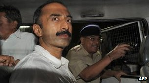 Sanjiv Bhatt outside a court in Ahmedabad on 1 October