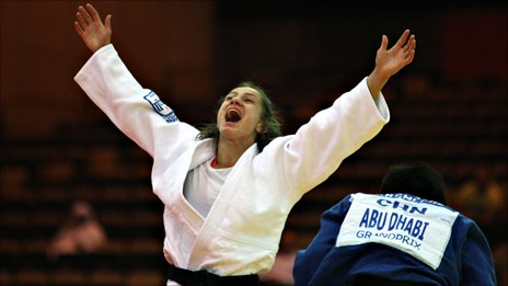 Majlinda Kelmendi celebrates victory at the Abu Dhabi Grand Prix