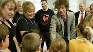 Mick Jagger meeting local school children