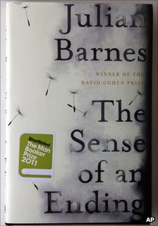 A copy of The Sense of an Ending novel by Julian Barnes