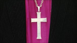 Close up of clothing of a Church of England Bishop