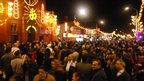 Thousands of people gather in Leicester's Belgrave Road for the city's Diwali lights being switched on