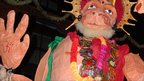 Giant puppet of a monkey parades through Leicester's streets as part of the Diwali celebrations