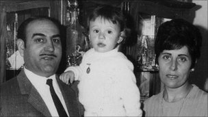 Juan Luis Moreno as a baby with his adoptive parents