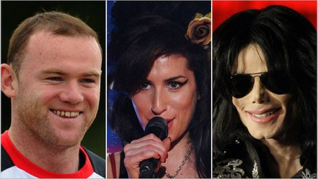 Wayne Rooney, Amy Winehouse and Michael Jackson