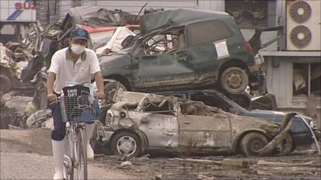 It is hoped cars destroyed in the tsunami will be recycled
