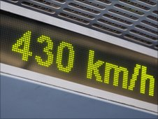 Speedometer on a high-speed train