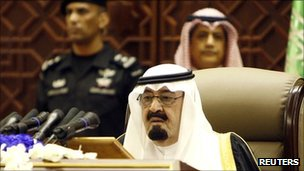 King Abdullah addresses the annual Shura (consultative) Council in Riyadh at the end of September 2011