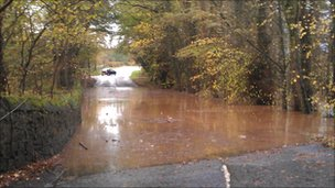 Road blocked on the B7024, 500m south of Culroy