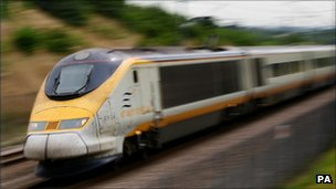Eurostar train travelling through Kent