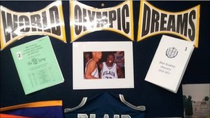 Items that Blair sent to Tomlinscote - now occupying pride of place on Tomlinscote's Olympic Dreams display