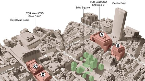 A plan of the new above-ground Crossrail developments along Oxford Street in central London