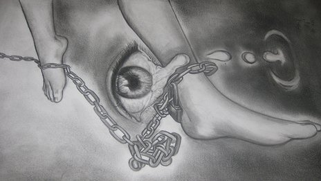 A drawing depicting people who suffers from being shackled for their mental illness