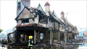 The burnt-out shell of the House of Reeves furniture store in Croydon