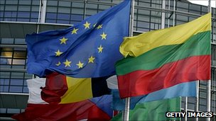 EU and national flags at Strasbourg