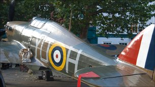 Replica of a WWII Hurricane on display in York