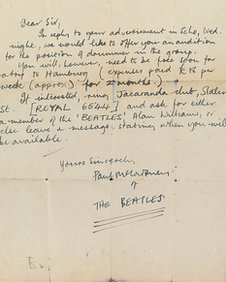 Paul McCartney letter from 1960
