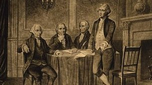 Drawing of the John Adams, Gouverneur Morris, Alexander Hamilton, and Thomas Jefferson