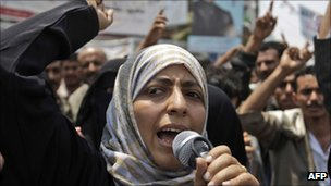 Tawakul Karman protesting in Yemen