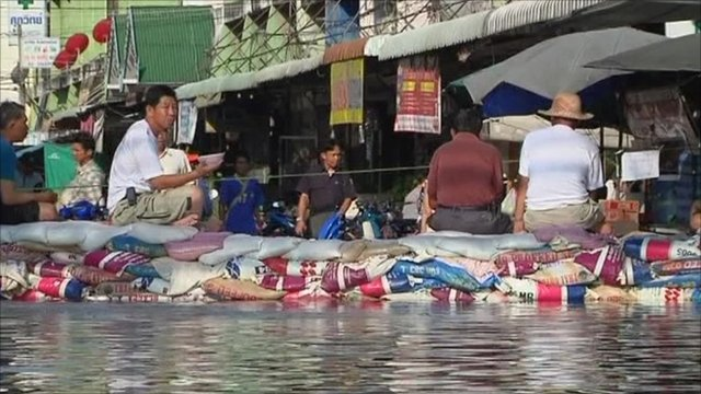 Flood barricade in Thailand