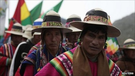 Indigenous protesters march on La Paz on 18 October
