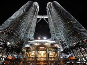 Nightshot of Malaysia's landmark Petronas Twin Towers in Kuala Lumpur